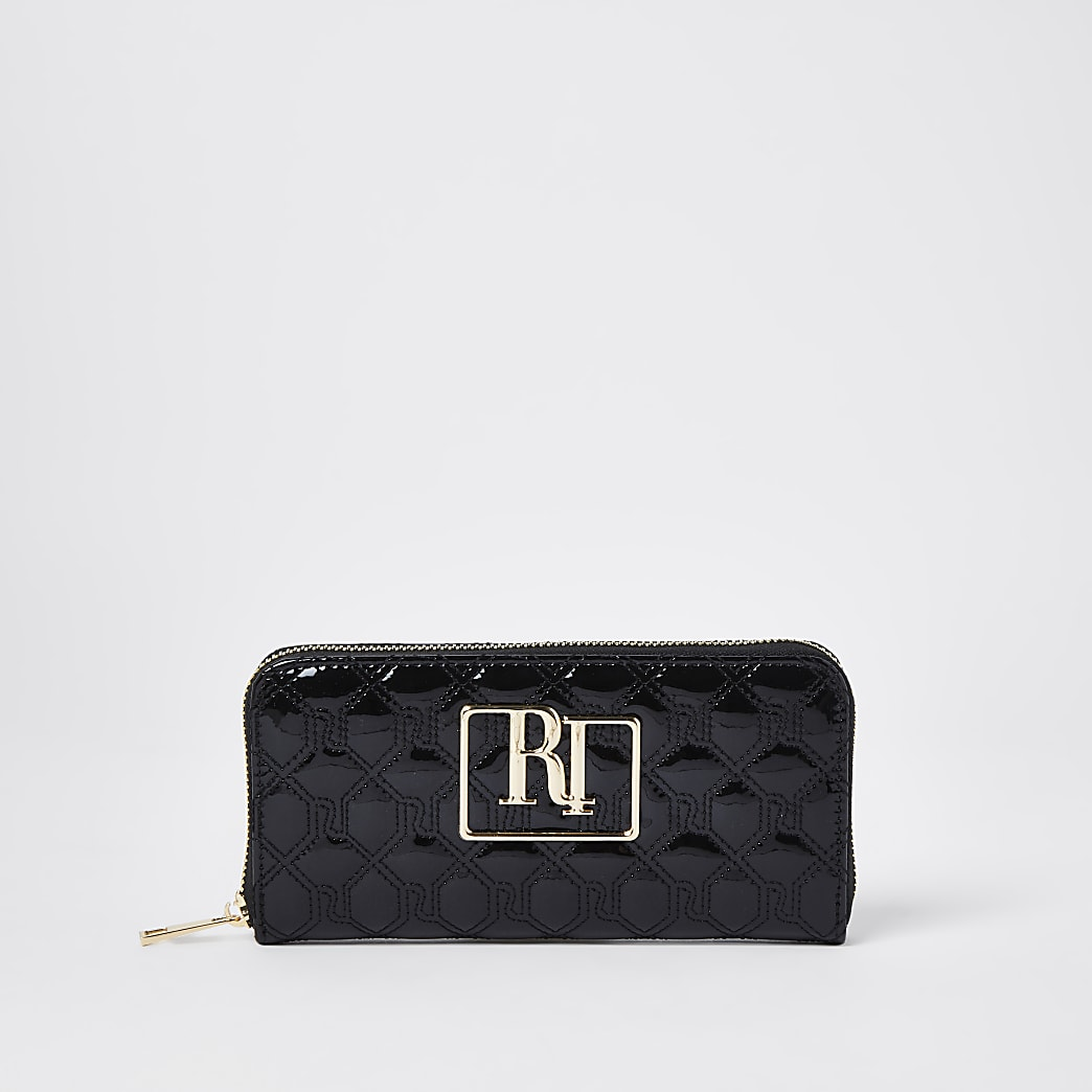 Black RI stitch embossed purse