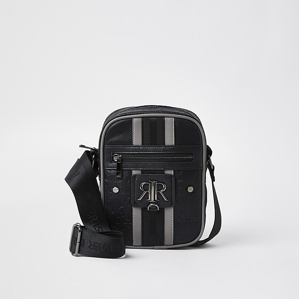 Black RI stripe monogram cross body bag