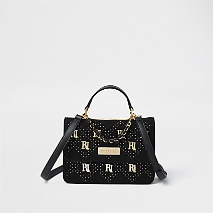 Black RI stud shoulder bag