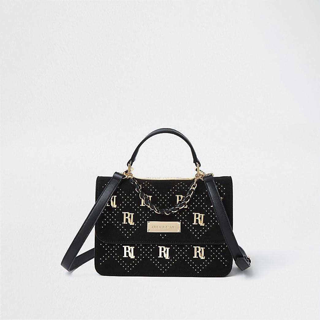 Black RI stud shoulder bag
