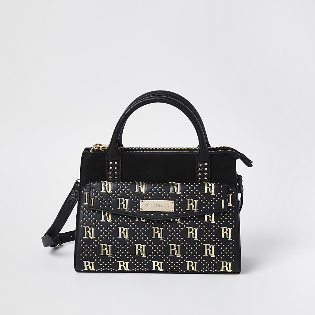 Black RI stud tote bag