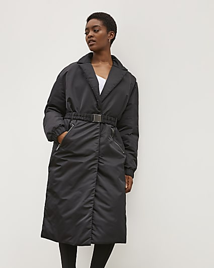 Black RI Studio Belted Padded Coat