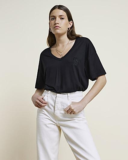 Black RI Studio Deep V-neck T-shirt