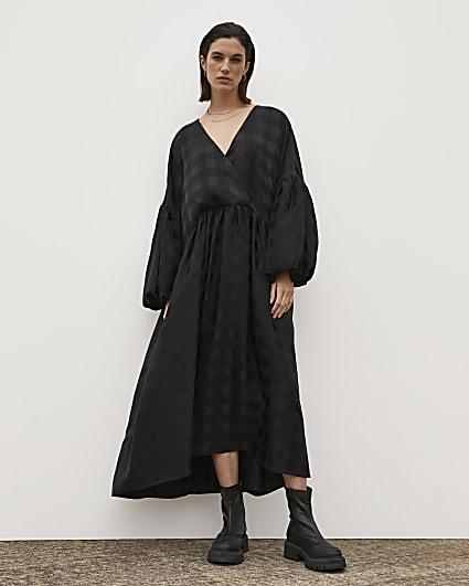 Black RI Studio Jacquard Oversized Maxi Dress