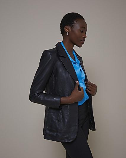 Black RI Studio Leather Blazer