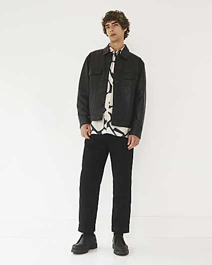 Black RI Studio leather button down jacket