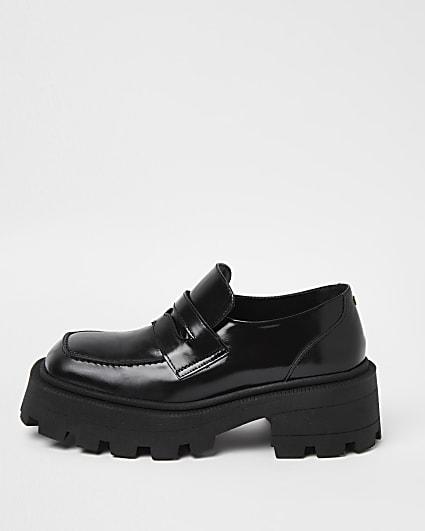 Black RI Studio Leather Chunky Loafers