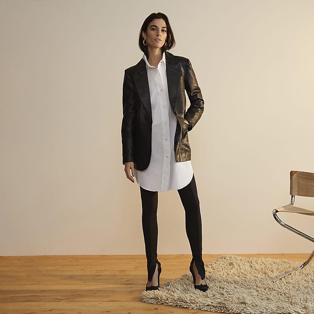 Black RI Studio leather fitted blazer