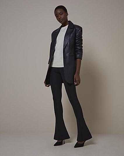 Black RI Studio Leather Oversized Blazer