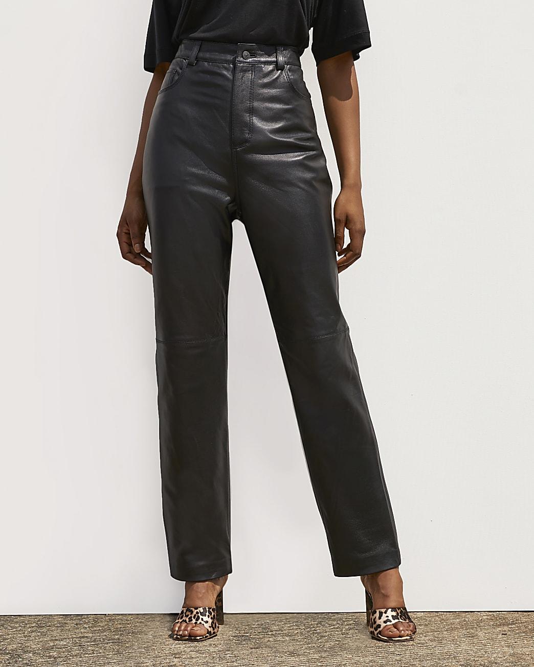 Black RI Studio leather Straight Leg Trousers