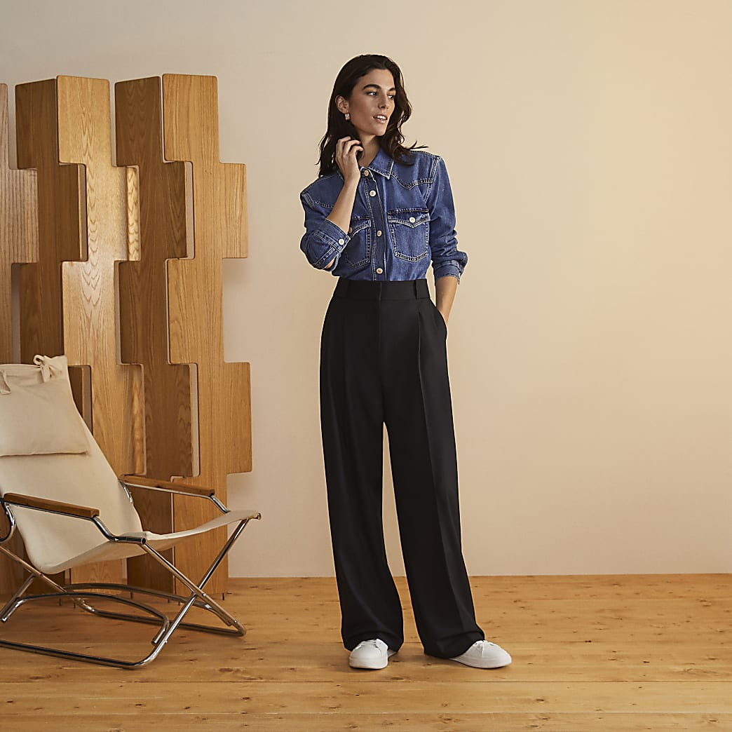 Black RI studio pleated wide leg trousers