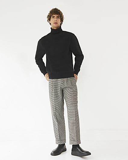 Black RI Studio regular fit gingham trousers