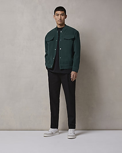 Black RI Studio regular fit pleated trousers