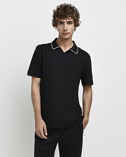 Black RI Studio slim fit polo shirt