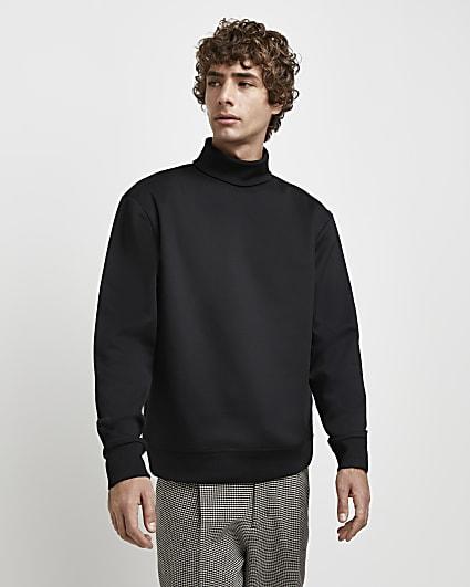 Black RI Studio slim fit roll neck sweatshirt