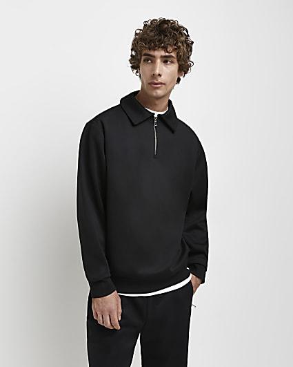 Black RI Studio slim fit zip neck sweatshirt