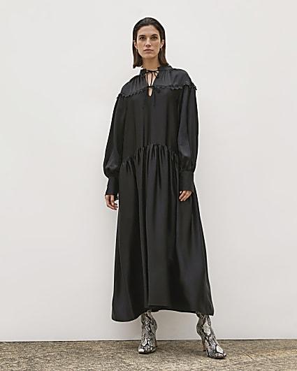 Black RI Studio Tie neck Smock Maxi Dress