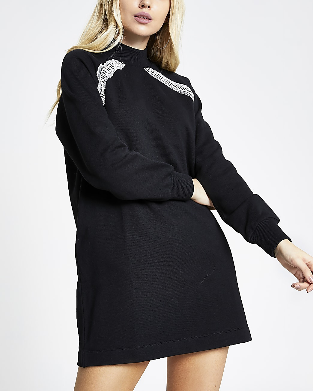 Black RI tape long sleeve sweatshirt dress