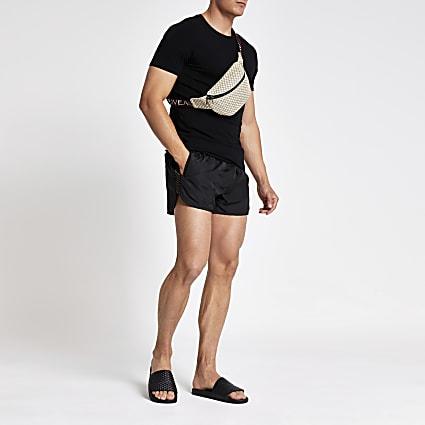 Black RI tape runner swim shorts