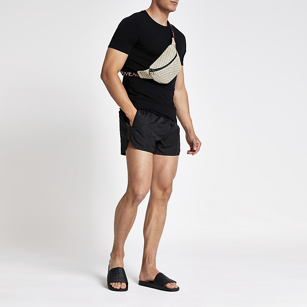 Black RI tape runner swim shorts