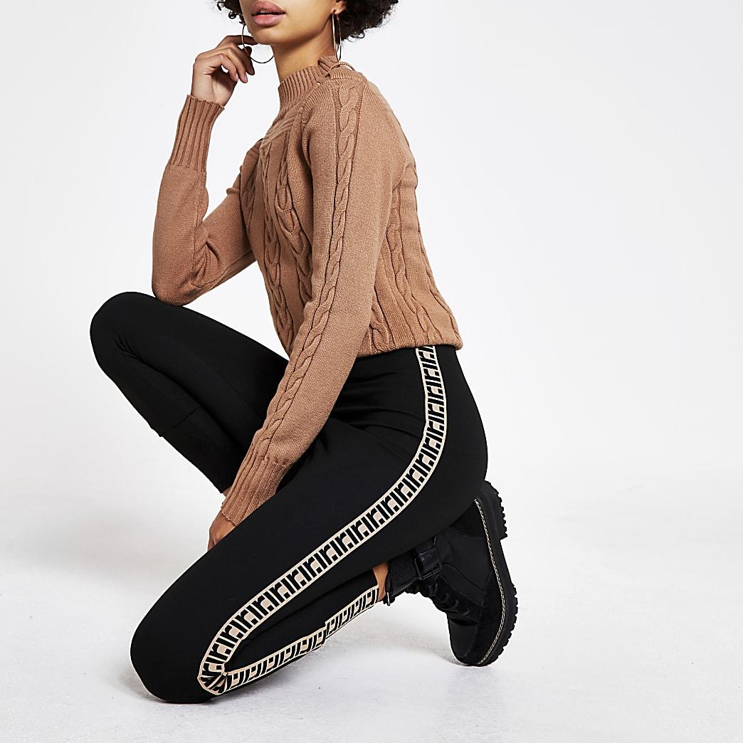 Black RI tape side leggings