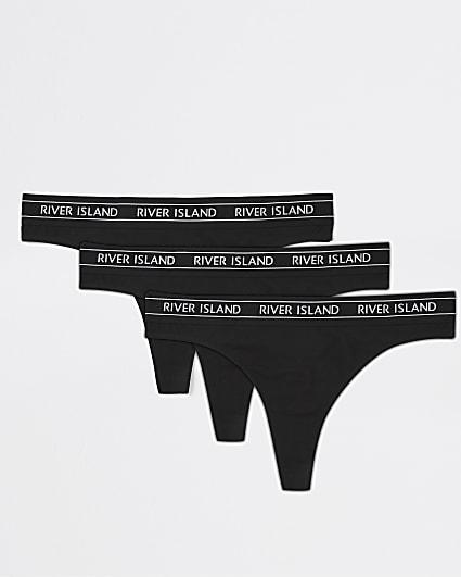 Black RI thongs multipack