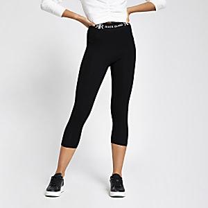 Schwarze Capri-Leggings mit RI-Taillenbund