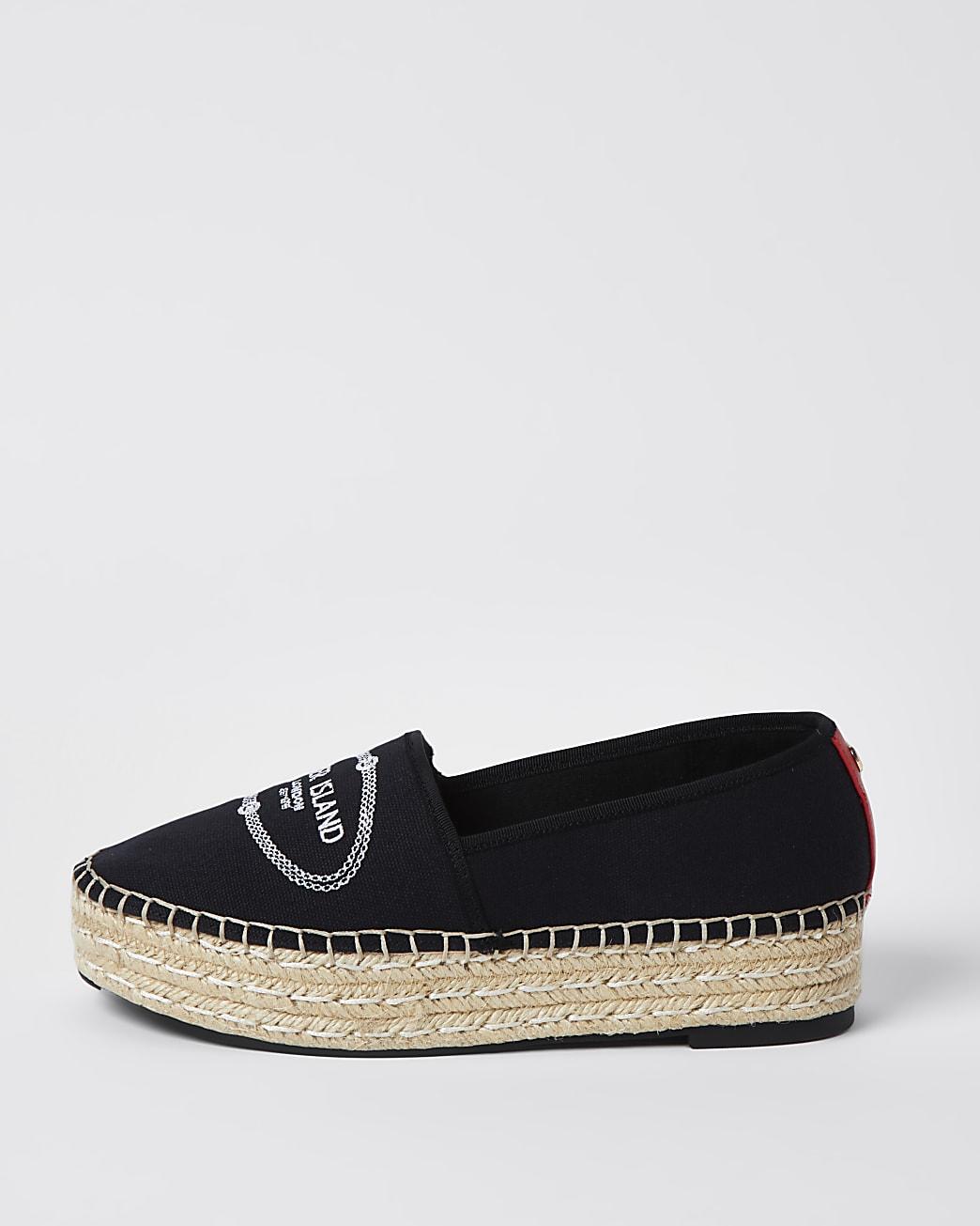 Black RI woven espadrille shoes