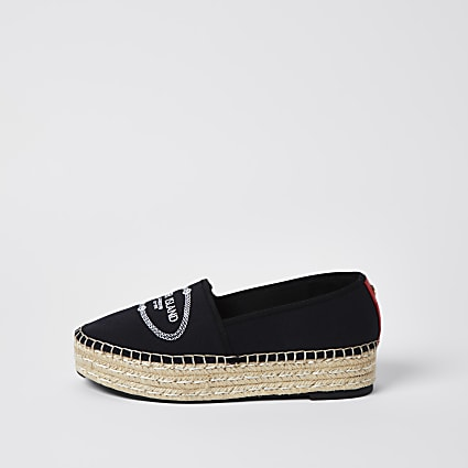 Black RI woven espadrille shoes