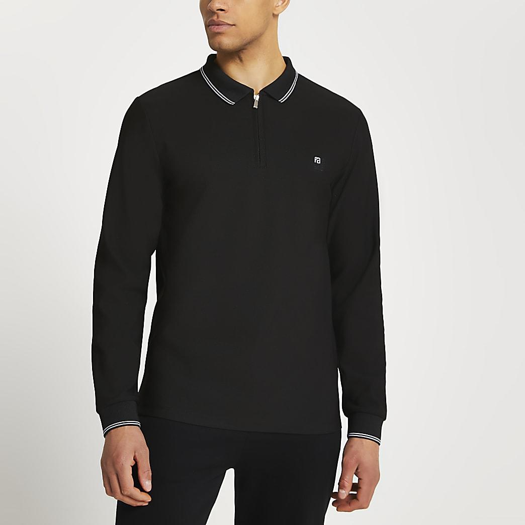 Black RI zip slim fit long sleeve polo shirt