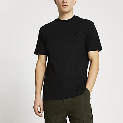 Black RI4 embroidered t-shirt