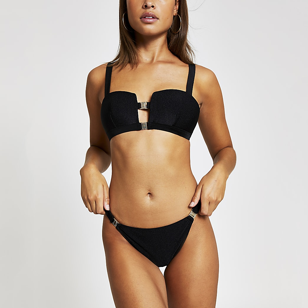 Black rib high leg bikini bottoms