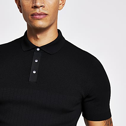Black rib knitted muscle fit polo shirt