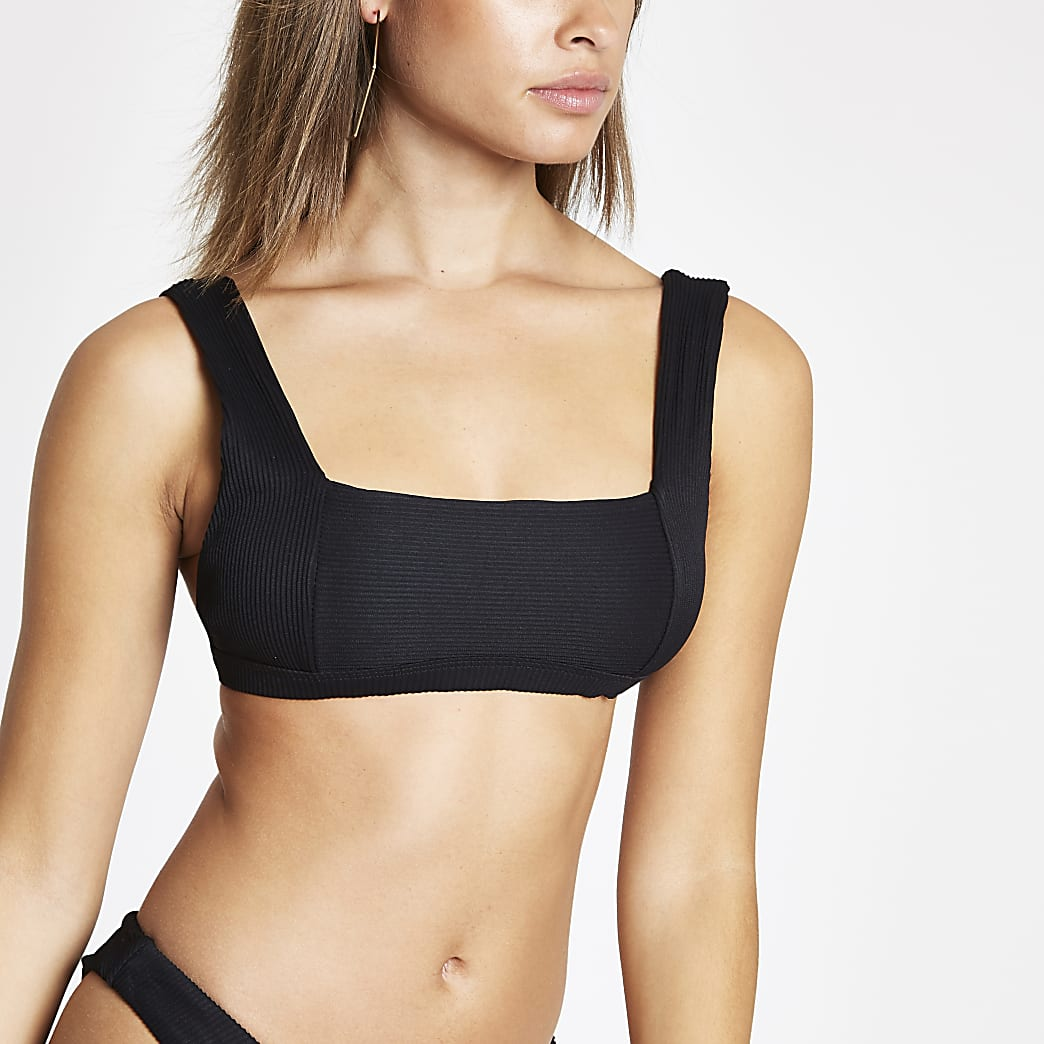 Black rib square neck bikini top