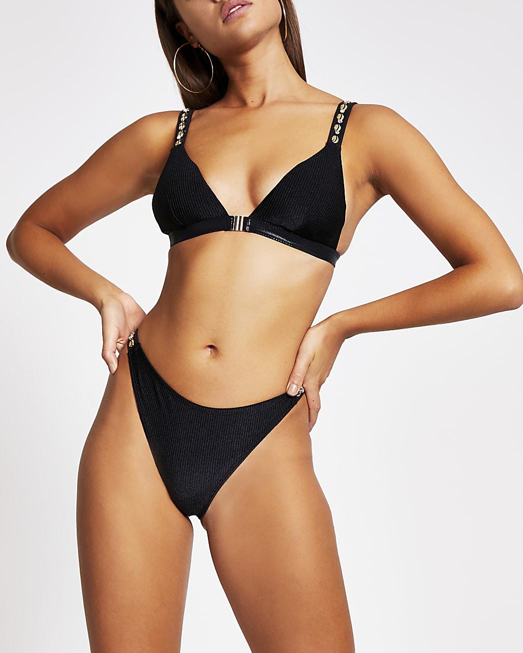 Black ribbed bikini briefs