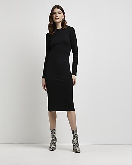 Black ribbed bodycon midi dress