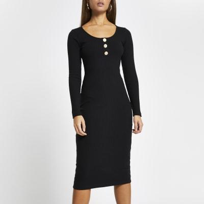 River Island Beige//Black Print Lined Midi Dress Size 8,10 /& 14 ri-12h