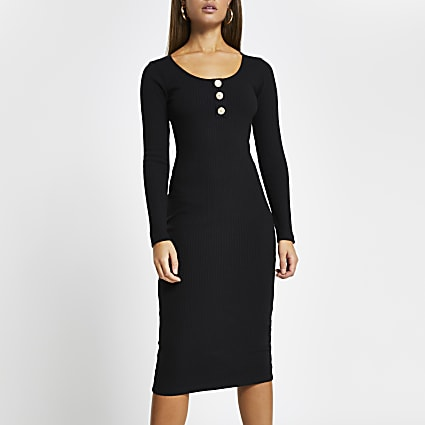 Black ribbed button front midi dress
