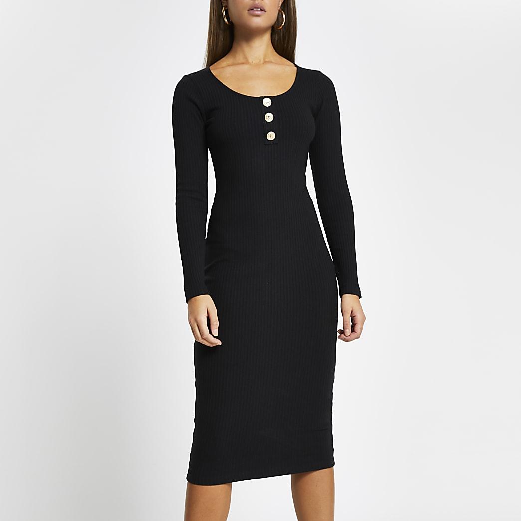 Black ribbed button front midi dress