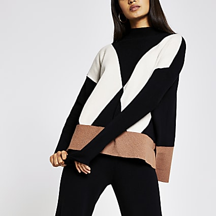 Black ribbed contrast high neck jumper