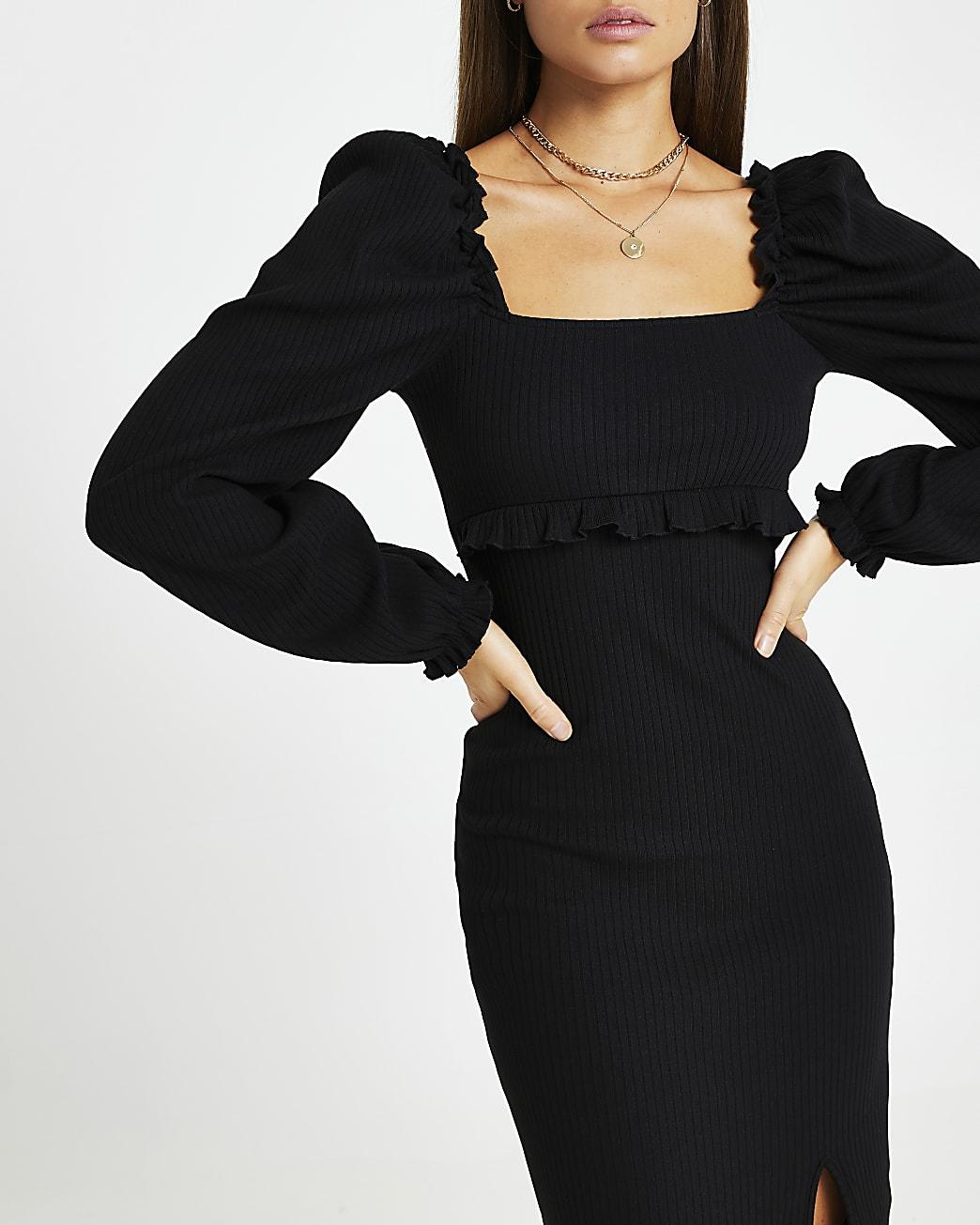 Black ribbed frill split front dress