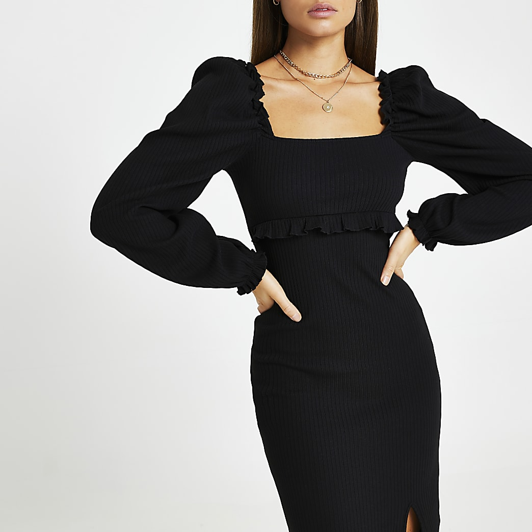 Black ribbed frill split front dress