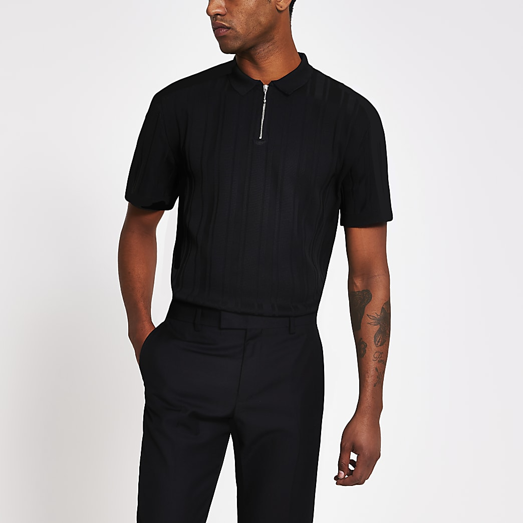 Black ribbed half zip knitted polo top