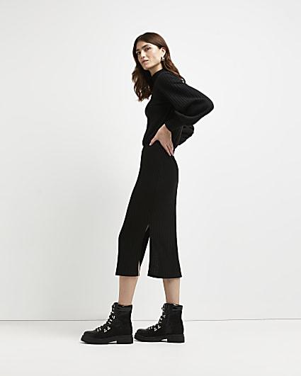 Black ribbed knitted midi dress