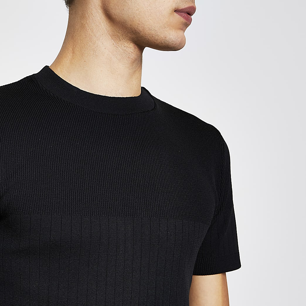 Black ribbed knitted muscle fit t-shirt
