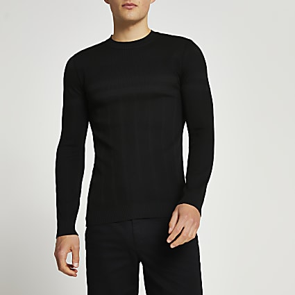 Black ribbed muscle fit crew neck jumper