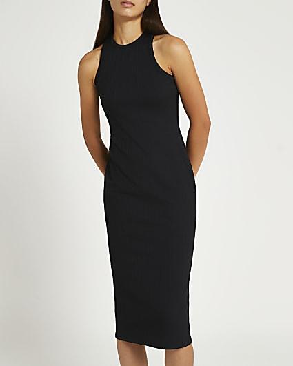 Black ribbed racer back midi dress