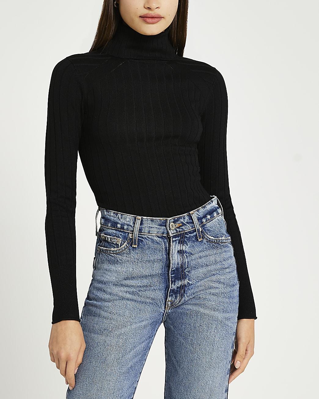 Black ribbed roll neck jumper
