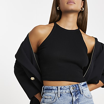 Black ribbed sleeveless crop top