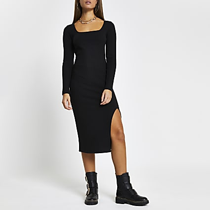 Black ribbed square neck split front dress